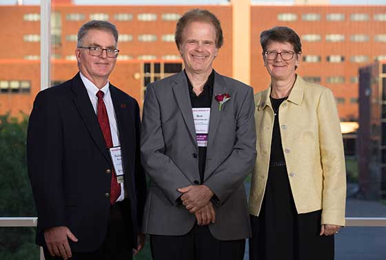 Photo of President Esterberg with Michael Sitton and Bob Christianson
