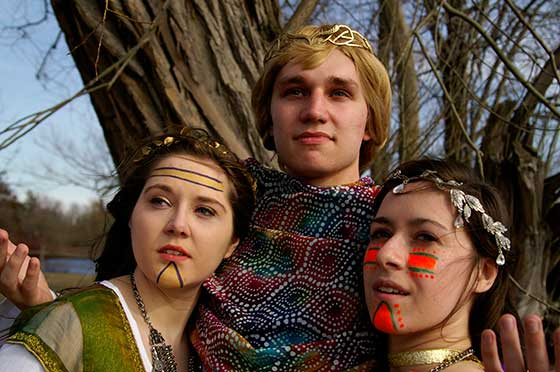 "Photo of actors in ""The Bacchae of Euripides: A Communion Rite"""
