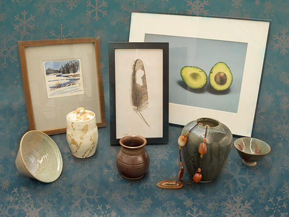 Photo of some items available at Holiday Art Auction