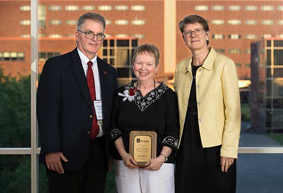 Photo of President Esterberg with Dean Michael Sitton and Kickie Britt