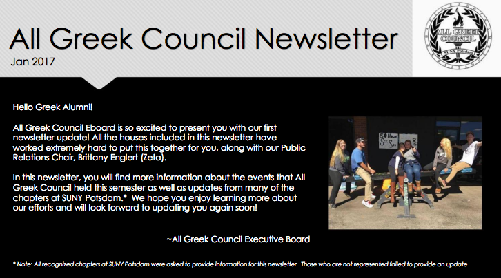 All Greek Council Newsletter - Fall 2016