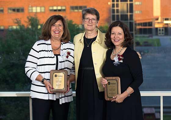"Photo of President Esterberg with Joyce Barnholt Yianoukos and Joyce ""Jackie"" Tantillo Aab"