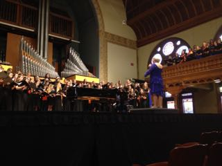 Rebecca Rottsolk conducts the festival choir