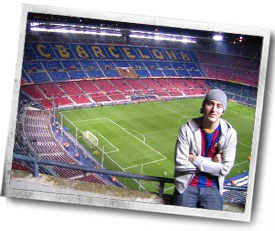 alumni Luke Oshier at soccer stadium in Barcelona