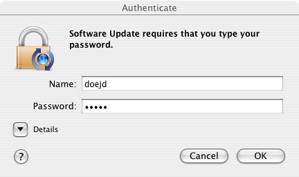 OS X update-authenticate