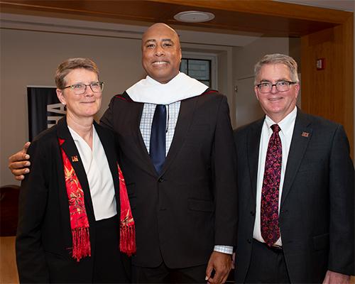 From left, SUNY Potsdam President Kristin G. Esterberg, honorary degree recipient Bernie Williams and Crane School of Music Dean Michael Sitton.