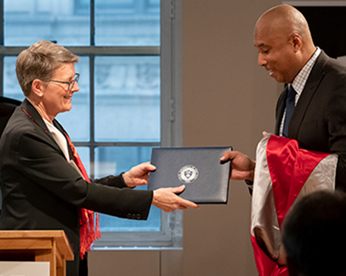 Former New York Yankee centerfielder and award-winning recording artist Bernie Williams was presented with an honorary Doctor of Humane Letters degree from The State University of New York at Potsdam on June 13.