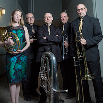 The Potsdam Brass Quintet will perform at SUNY Potsdam's Crane School of Music on Oct. 27. Its regular members include (from left): Lauren Becker, Jim Madeja, Charles Guy, John Ellis and Mark Hartman. Guest tubist William Sutton will join the ensemble for this performance.